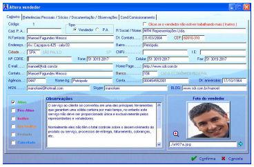 Gerenciamento das Informaçõs dos Vendedores no Sistema SDR