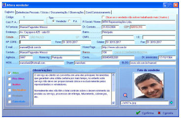 Gerenciamento das Informa��s dos Vendedores no Sistema SDR